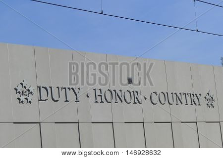 """Norfolk, VA - March 24: """"Duty, Honor, Country"""" on a Wall in Norfolk, Virginia on March 24, 2016"""
