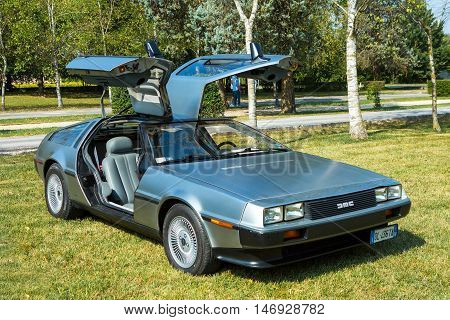 Mogliano VenetoItaly Sept 112016:Photo of a DeLorean DMC-12 at meeting Top Selection 2016. The DeLorean DMC-12 is a sports car manufactured by John DeLoreans DeLorean Motor Company for the American market from 1981-1983.