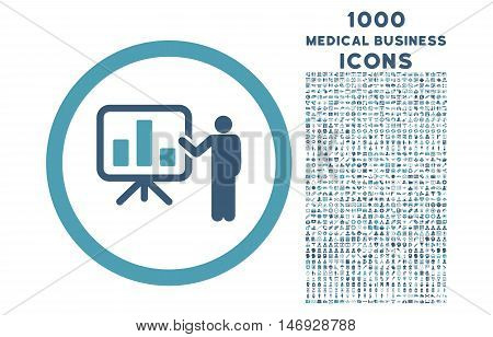Bar Chart Presentation rounded glyph bicolor icon with 1000 medical business icons. Set style is flat pictograms, cyan and blue colors, white background.