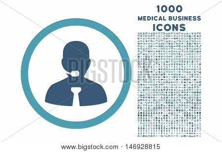 Call Center Operator rounded glyph bicolor icon with 1000 medical business icons. Set style is flat pictograms, cyan and blue colors, white background.