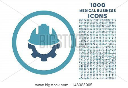 Development rounded glyph bicolor icon with 1000 medical business icons. Set style is flat pictograms, cyan and blue colors, white background.