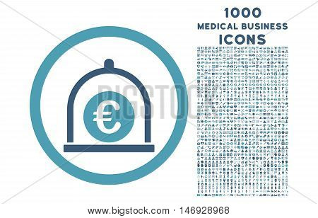 Euro Standard rounded glyph bicolor icon with 1000 medical business icons. Set style is flat pictograms, cyan and blue colors, white background.