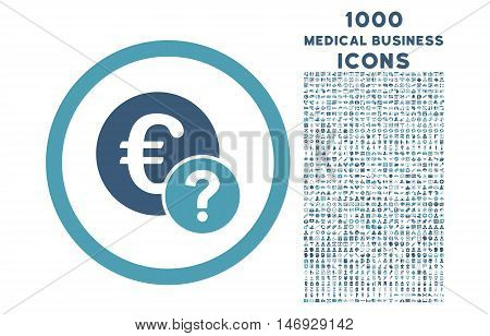Euro Status rounded glyph bicolor icon with 1000 medical business icons. Set style is flat pictograms, cyan and blue colors, white background.