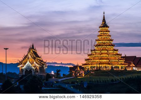 Wat Huai Pla Kung temple the pagoda in Chinese style in Chiangrai province of Thailand.