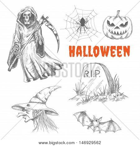 Sketched characters for Halloween celebration decoration. Vector isolated death wih scythe, spider in spiderweb, scary pumpkin with eyes, R.I.P. tomb stone, ugly old witch in magic hat, flying vampire bat
