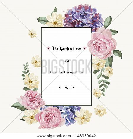 Luxury card with vintage flowers and white rectangle label