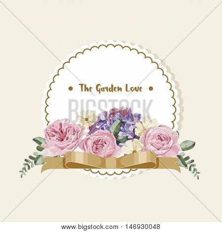 Luxury card with vintage flowers ,golden ribbon and white round label
