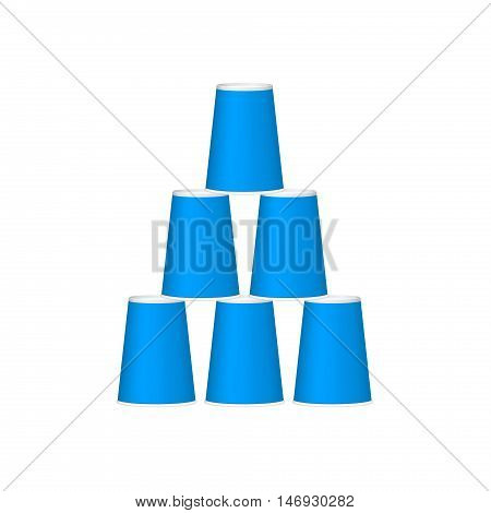 Pyramid of cups in blue design on white background