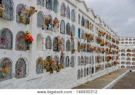 TULCAN, ECUADOR - JULY 3, 2016: vertical graves with a metalic door and flowers on each grave.