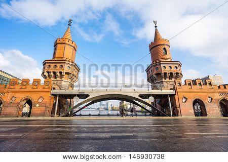 View of the Oberbaum Bridge in Berlin Germany.
