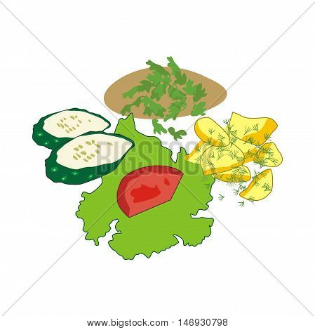 Illustration favorite Russian meal isolated on white background, fried potatoes with meat cutlet and vegetables