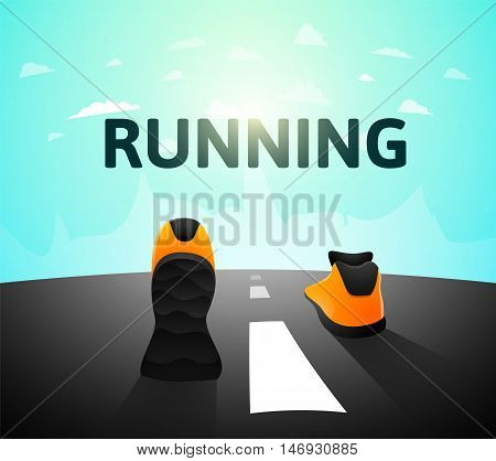Runner athlete shoes on road, jog workout wellness concept, vector illustration background