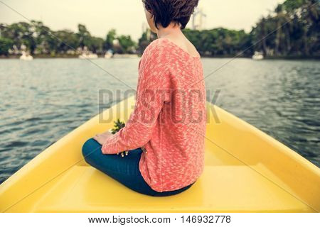 Asian Woman Ride On Boat Concept