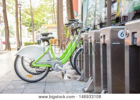 Thailand Public bike rental in downtown Bangkok.