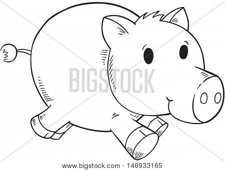 Doodle Pig Vector Illustration Art