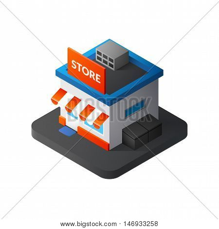 Flat isometric store logo, isolated vector icon, online shopping and e-commerce concept web market