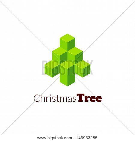 Isometric christmas tree logo, geometric vector illustration