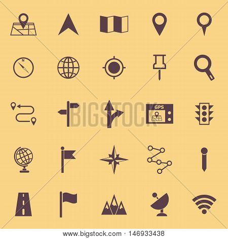 Navigation color icons on yellow background, stock vector