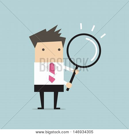 Businessman with a magnifying glass vector illustration