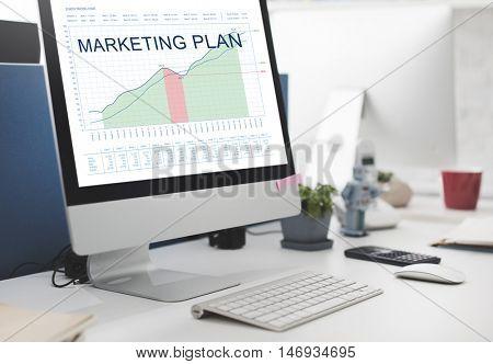 Marketing Plan Analysis Graphs Business Goals concept