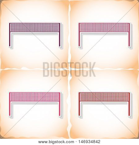 Volleyball grid. Flat sticker with shadow on old paper. Vector illustration