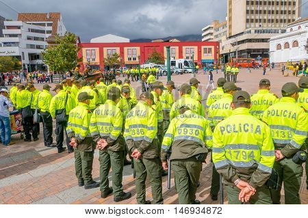 PASTO, COLOMBIA - JULY 3, 2016: some police formed on the center square of the city