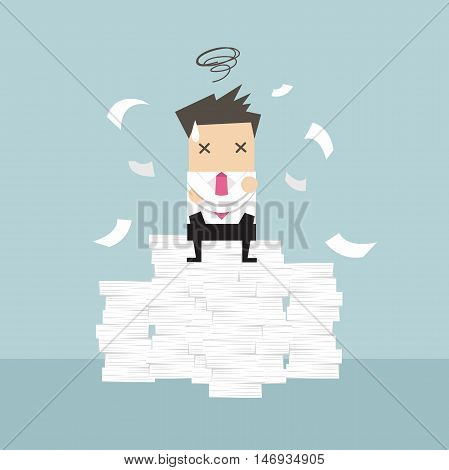 Businessman tried and stressed on paperwork vector