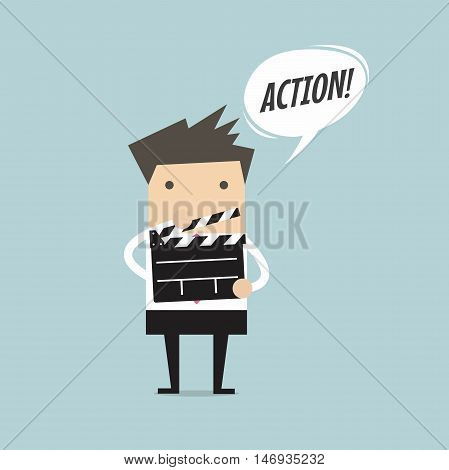 Businessman holding movie slate and say Action vector