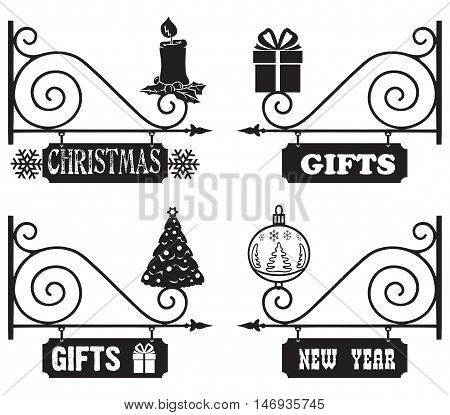 Gifts for Christmas and New Year. Christmas vintage signs to indicate the direction.