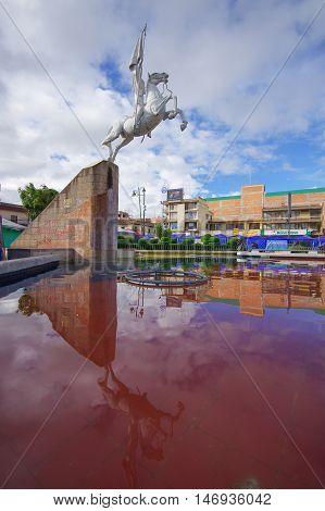 TULCAN, ECUADOR - JULY 3, 2016: el libertador statue located in the park is a tribute to simon bolivar.