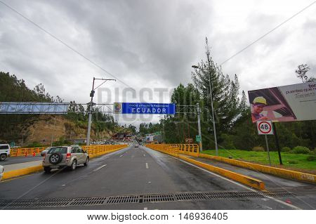 TULCAN, ECUADOR - JULY 3, 2016: rumichaca bridge is the borderline between ecuador and colombia.
