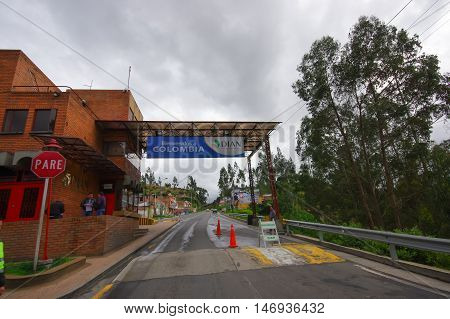 TULCAN, ECUADOR - JULY 3, 2016:checkpoint located in the borderline between ecuador and colombia.