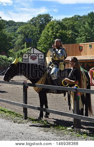 TUXEDO PARK, NY - SEP 11: The Joust show at the 2016 Renaissance Faire in Tuxedo Park, New York State, as seen on Sep 11, 2016. The New York Renaissance Faire was originally created in 1978.