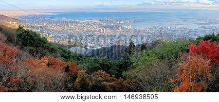 Aerial View Of Kobe City From Mount Maya In Autumn Season, Japan