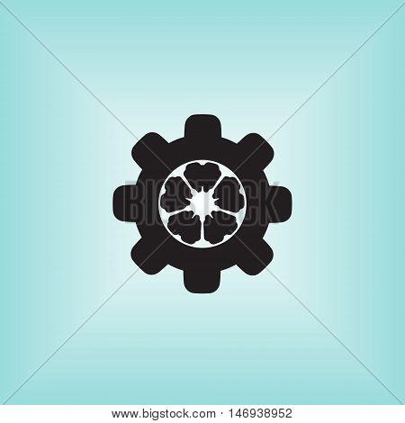 Cogwheel vector icon. Cogwheel mechanism vector logo.