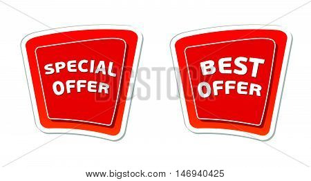 special and best offer - red banners with white text, business concept, vector