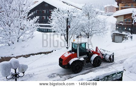 Bulldozer Removing Snow