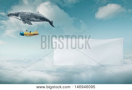 Blank white banner with a copy space area hanged up from fantasy air plane