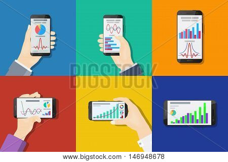 Smartphones In Hands. Flat Design