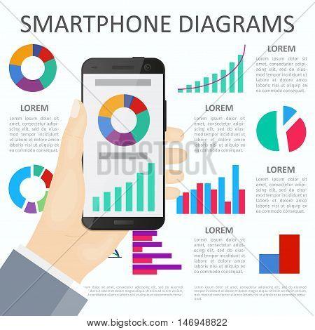 Smartphone In Hand. Flat Design