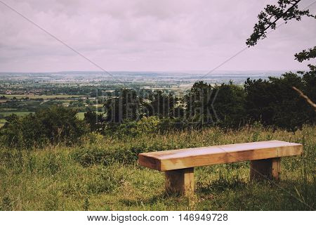Bench With View Over The Chilterns In Buckinghamshire Vintage Retro Filter.