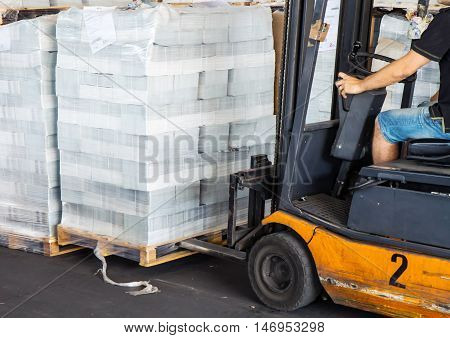 Forklift Driver To Move The Pallet Cellophane