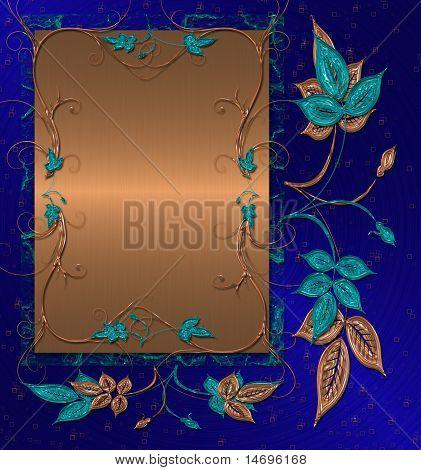 Abstract dunkel blauem Hintergrund mit Gold und Blumen
