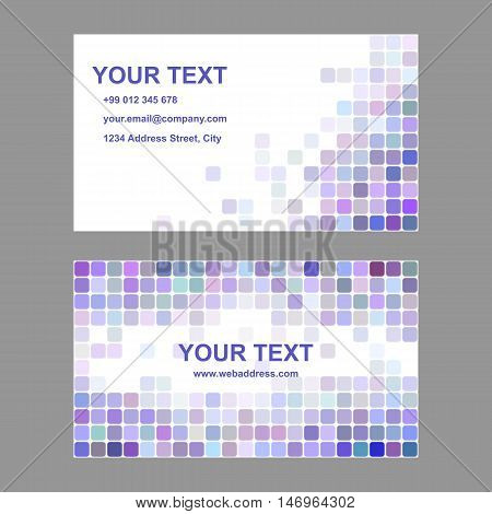 Purple and colorful abstract business card template background design from rounded squares