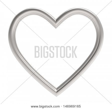 Silver heart picture frame isolated on white. 3D illustration.