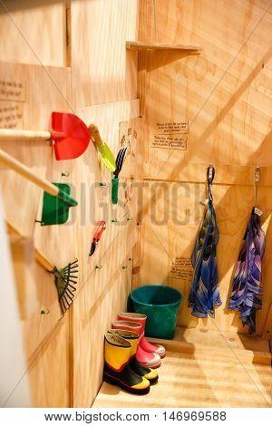 Gardening tools in a small room. Hamilton Gardens tropical garden. Hamilton New Zealand.