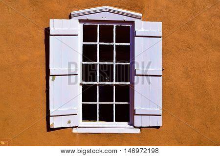 Modern style window taken at a southwestern adobe style building