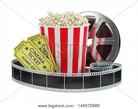 Cinema concept: Film reel, popcorn, cinema tickets isolated white background, 3d render