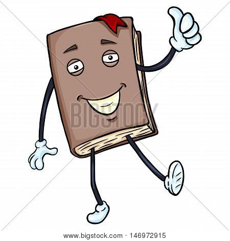 Vector Cartoon Character - Lively Brown Book With Thumb Up