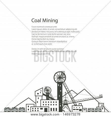 MIne, Complex Industrial Facilities with Spoil Tip and with Rail Cars, Coal Industry, Poster Brochure Flyer Design, Vector Illustration